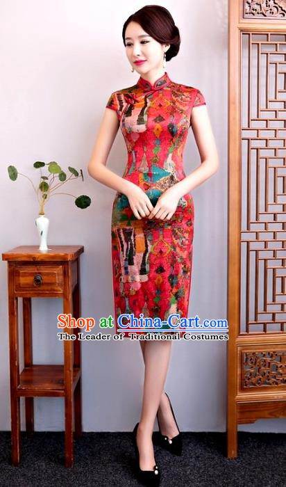 Chinese Traditional Elegant Cheongsam Red Silk Full Dress National Costume Retro Printing Qipao for Women