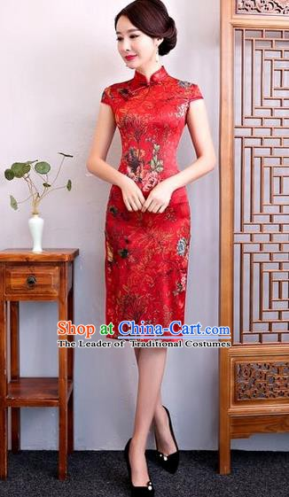 Chinese Traditional Elegant Cheongsam Red Silk Full Dress National Costume Retro Printing Flowers Qipao for Women