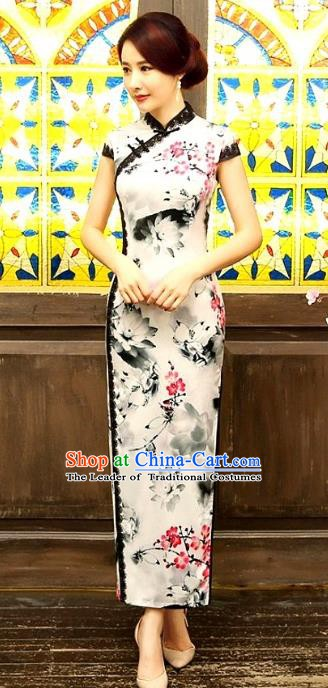 Chinese Traditional Elegant Ink Painting Lotus Cheongsam National Costume Qipao Dress for Women