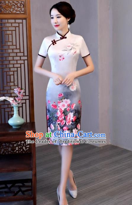 Chinese Traditional Elegant Cheongsam Top Grade White Silk Full Dress National Costume Retro Printing Qipao for Women