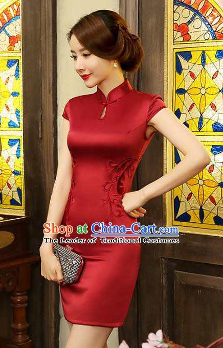 Top Grade Chinese National Costume Elegant Red Silk Cheongsam Tang Suit Qipao Dress for Women