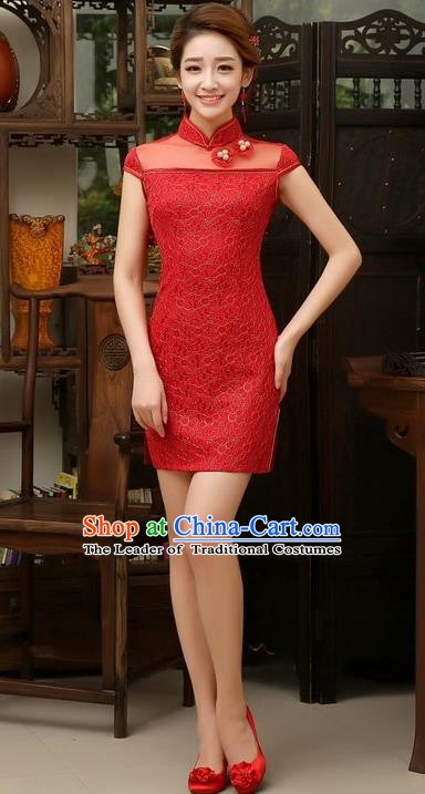 Top Grade Chinese National Costume Elegant Short Cheongsam Tang Suit Red Qipao Dress for Women
