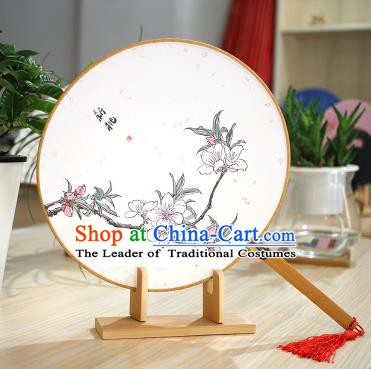 Chinese Traditional Round Fans Handmade Printing Peach Blossom Circular Fan China Ancient Palace Fans