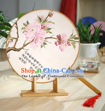 Chinese Traditional Round Fans Handmade Printing Flowers Circular Fan China Ancient Palace Fans