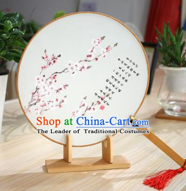 Chinese Traditional Round Fans Handmade Painting Plum Blossom Circular Fan China Ancient Palace Fans