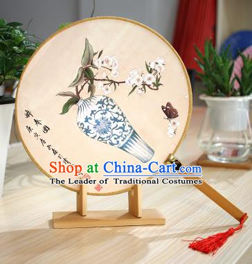 Chinese Traditional Round Fans Handmade Painting Vase Circular Fan China Ancient Palace Fans