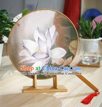 Chinese Traditional Round Fans Handmade Painting Lotus Circular Fan China Ancient Palace Fans