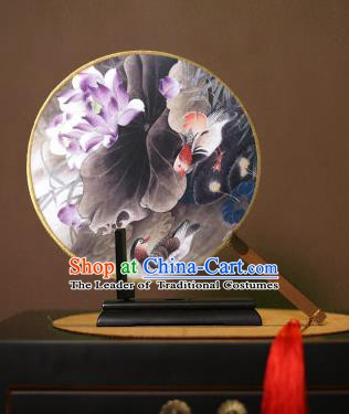 Chinese Traditional Circular Fans Handmade Printing Lotus Goldfish Round Fan China Ancient Palace Dance Fans