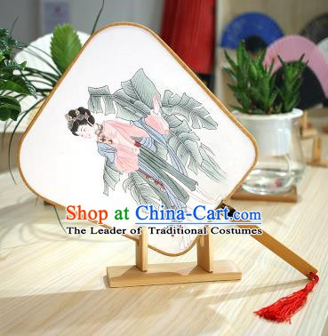 Chinese Traditional Printing Banana Leaf Beauty Fans Handmade Square Fan China Ancient Palace Dance Fans
