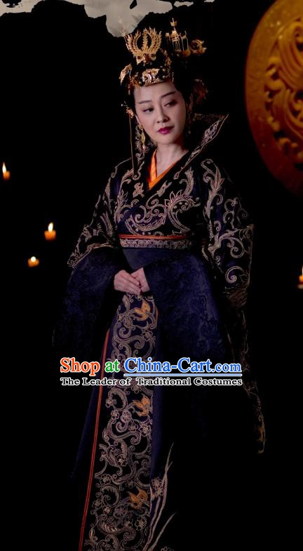 Chinese Ancient Nirvana in Fire Southern and Northern Dynasties Empress Embroidered Replica Costume and Headpiece Complete Set