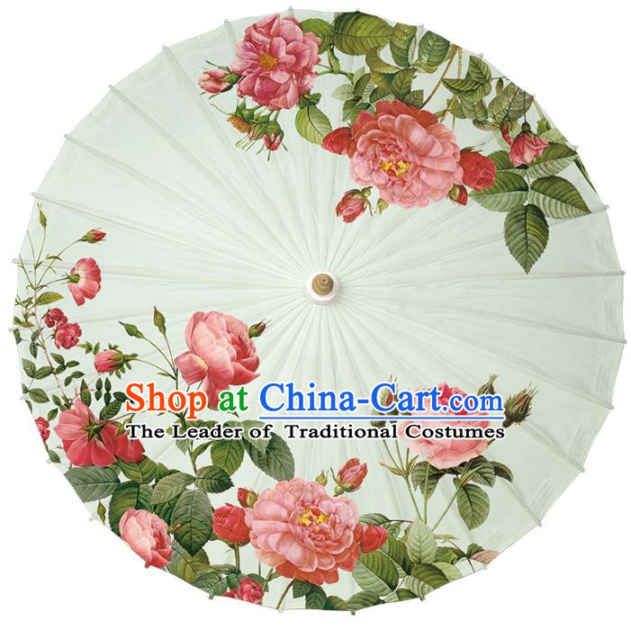 Chinese Traditional Artware Paper Umbrella Classical Dance Umbrella Printing Red Peony Oil-paper Umbrella Handmade Umbrella
