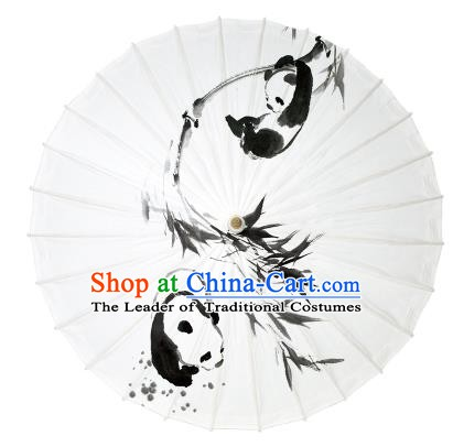 Chinese Traditional Artware Paper Umbrella Ink Wash Painting Panda Oil-paper Umbrella Handmade Umbrella