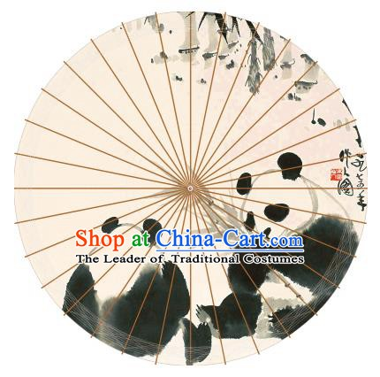 Chinese Traditional Artware Paper Umbrellas Chinese Ink Painting Double Pandas Oil-paper Umbrella Handmade Umbrella