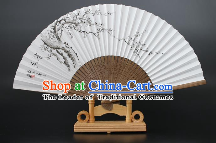 Chinese Traditional Artware Handmade Folding Fans Printing Plum Blossom Paper Fans