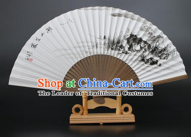 Chinese Traditional Artware Handmade Folding Fans Ink Painting Lake View Paper Fans
