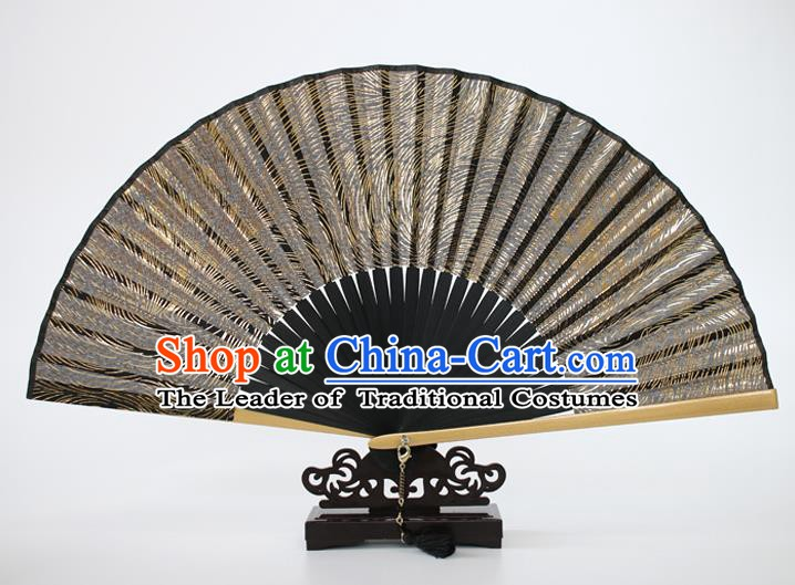 Chinese Traditional Artware Handmade Folding Fans Golden Silk Accordion Fans