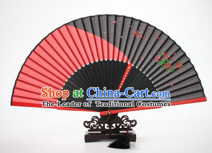 Chinese Traditional Artware Handmade Folding Fans Red Silk Fans Printing Flowers Accordion