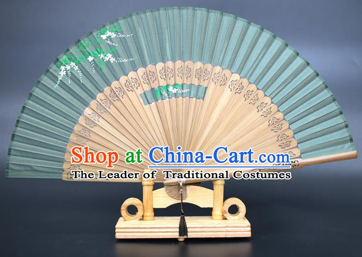 Chinese Traditional Artware Handmade Folding Fans Printing Wisteria Green Silk Fans Accordion