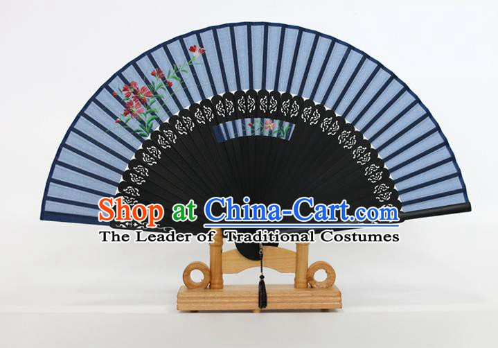 Chinese Traditional Artware Handmade Folding Fans Printing Flowers Blue Silk Fans Accordion