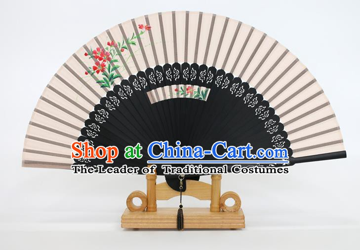 Chinese Traditional Artware Handmade Folding Fans Printing Flowers Silk Fans Accordion