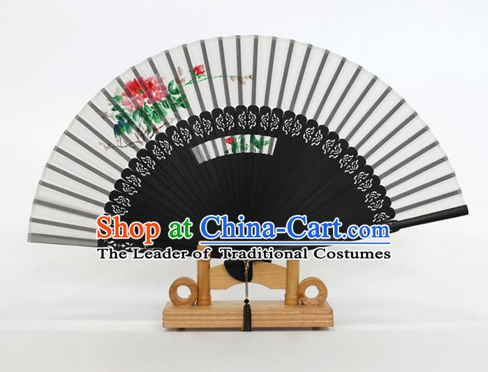Chinese Traditional Artware Handmade Folding Fans Printing Flowers White Silk Fans Accordion