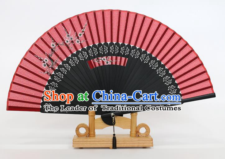 Chinese Traditional Artware Handmade Folding Fans Printing Plum Blossom Red Silk Fans Accordion