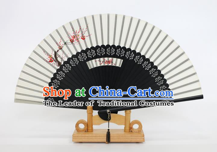 Chinese Traditional Artware Handmade Folding Fans Printing Plum Blossom White Silk Fans Accordion