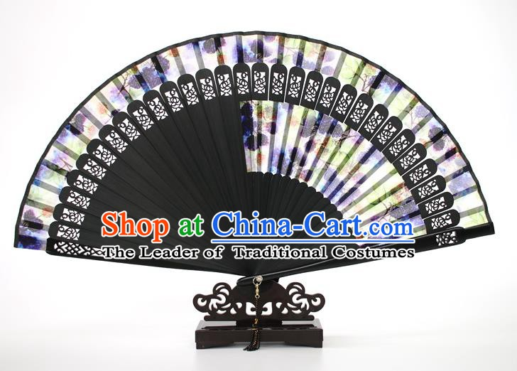 Chinese Traditional Artware Handmade Folding Fans Purple Silk Fans Accordion