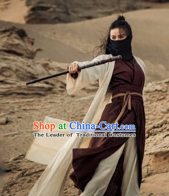 Chinese Ancient Swordsman Knight Hanzhuang Traditional Chinese Dress Hanfu National Costume Complete Set for Men or Women