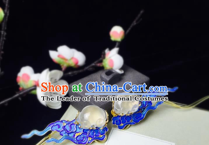 Chinese Handmade Classical Hair Accessories Jade Hairpins Hanfu Hair Stick for Women