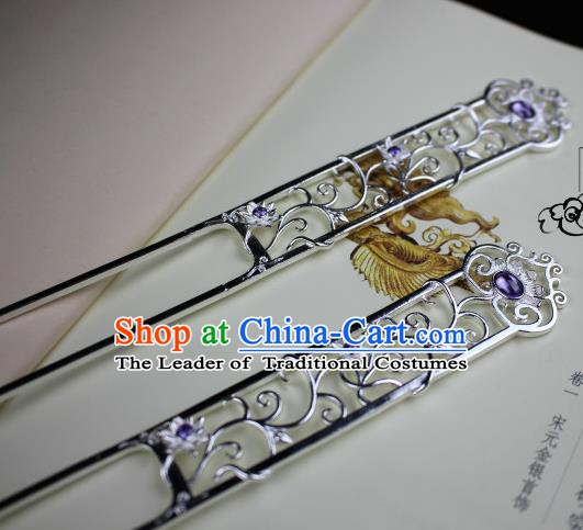 Chinese Handmade Classical Hair Accessories Hairpin Purple Crystal Hair Stick Hanfu Hairpins for Women