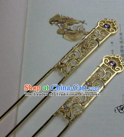 Chinese Handmade Classical Hair Accessories Hairpin Purple Crystal Hair Stick Hanfu Golden Hairpins for Women