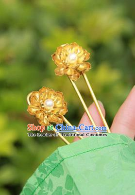 Chinese Handmade Classical Hair Accessories Wedding Hairpin Hanfu Golden Lotus Hair Stick for Women