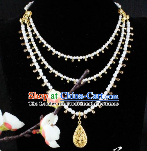 Chinese Handmade Classical Wedding Accessories Princess Beads Necklace Hanfu Necklet for Women