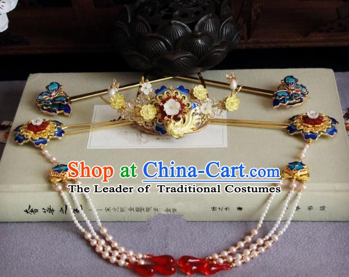 Chinese Handmade Classical Hair Accessories Wedding Hairpins Hanfu Phoenix Coronet Complete Set for Women
