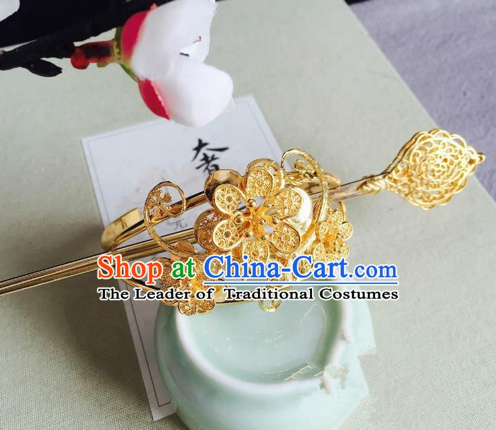 Chinese Handmade Classical Hair Accessories Golden Flowers Hairdo Crown Hairpins Hair Stick for Women