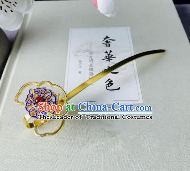 Chinese Handmade Classical Hair Accessories Golden Hairpins Blueing Hair Stick for Women