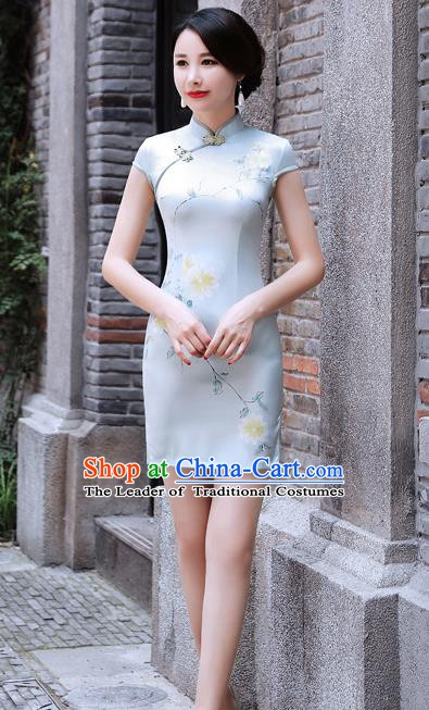 Chinese Traditional Mandarin Qipao Dress National Costume Printing Flowers Cheongsam for Women