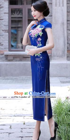 Chinese Traditional Mandarin Silk Qipao Dress National Costume Printing Peony Blue Long Cheongsam for Women