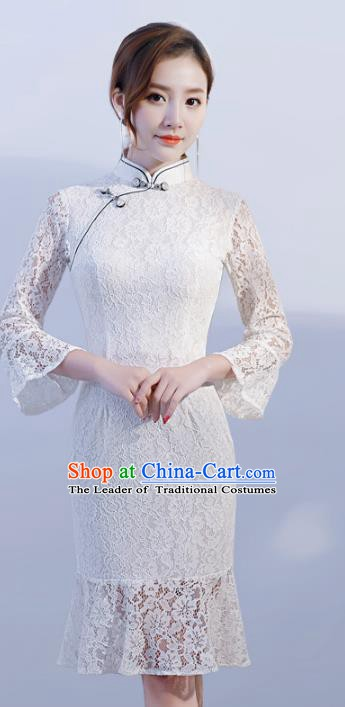 Chinese Traditional Mandarin Qipao Dress National Costume White Lace Cheongsam for Women