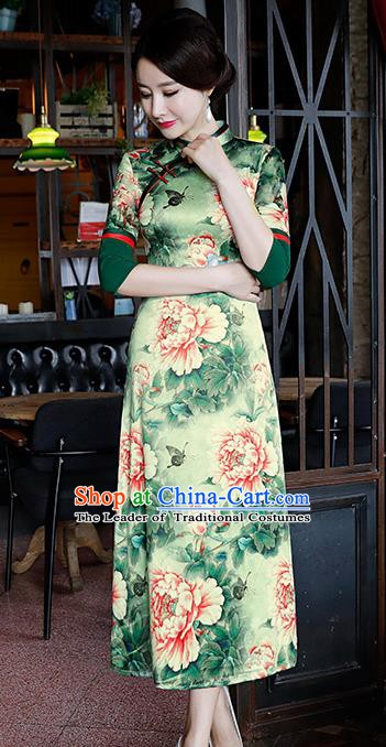 Chinese Traditional Mandarin Qipao Dress National Costume Printing Peony Green Cheongsam for Women