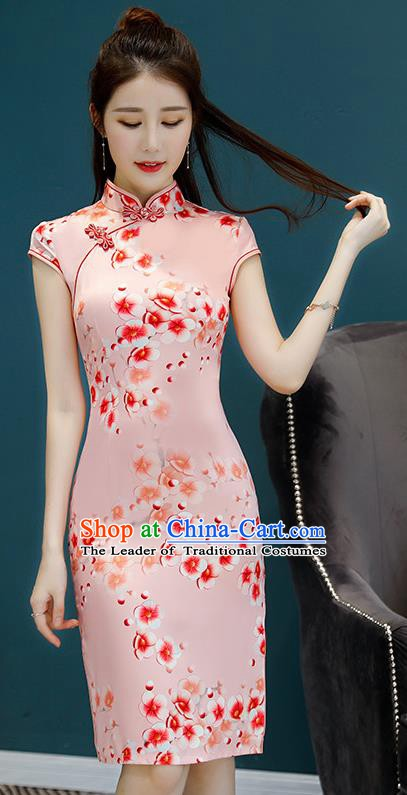 Chinese Traditional Mandarin Qipao Dress National Costume Printing Flowers Pink Cheongsam for Women