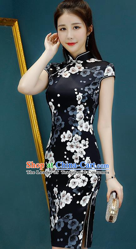 Chinese Traditional Mandarin Qipao Dress National Costume Printing Flowers Black Cheongsam for Women