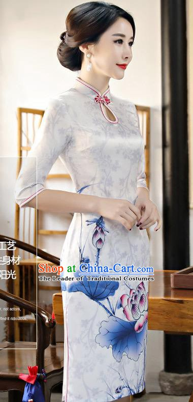 Chinese Traditional Silk Mandarin Qipao Dress National Costume Printing Lotus White Short Cheongsam for Women