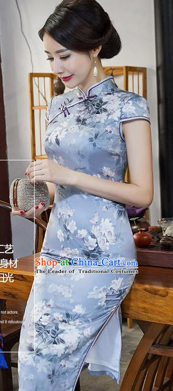 Chinese Traditional Silk Mandarin Qipao Dress National Costume Printing Peony Blue Short Cheongsam for Women