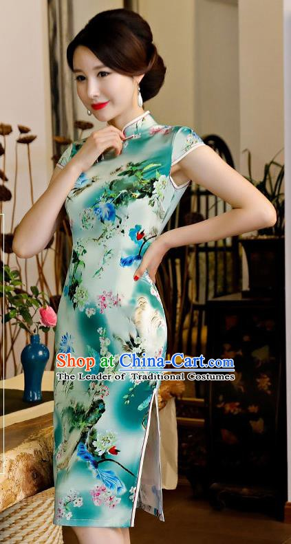 Chinese Traditional Silk Mandarin Qipao Dress National Costume Printing Green Short Cheongsam for Women