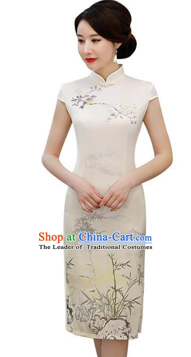Chinese Traditional Printing Bamboo Mandarin Qipao Dress National Costume Short Cheongsam for Women