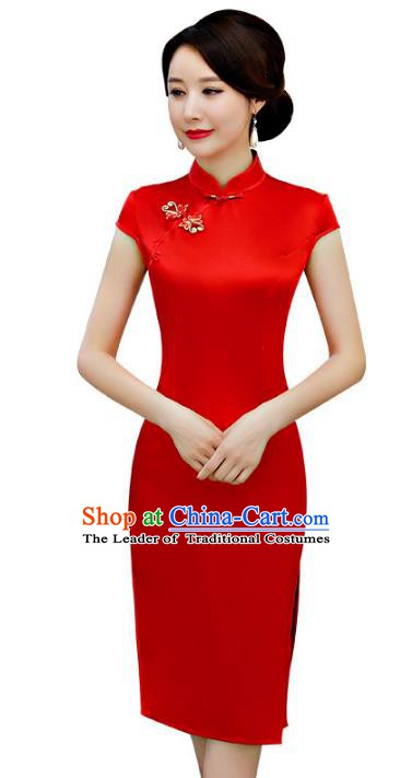 Chinese Traditional Red Silk Mandarin Qipao Dress National Costume Wedding Short Cheongsam for Women