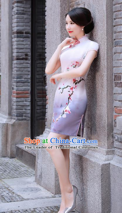 Chinese Traditional Mandarin Qipao Dress National Costume Printing Mangnolia Cheongsam for Women