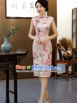 Chinese Traditional Pink Short Mandarin Qipao Dress National Costume Printing Flowers Cheongsam for Women